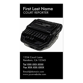 Court reporter steno machine vertical custom cards Double-Sided standard business cards (Pack of 100)