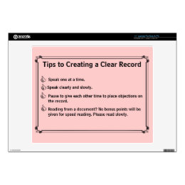 "Court Reporter's Instructions for a Clean Record Decal For 14"" Laptop"