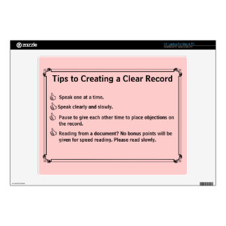 Court Reporter's Instructions for a Clean Record Laptop Decal