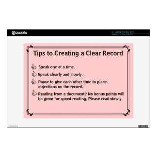 Court Reporter's Instructions for a Clean Record Laptop Decals