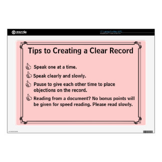 """Court Reporter's Instructions for a Clean Record 17"""" Laptop Skins"""
