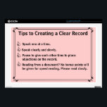 "Court Reporter&#39;s Instructions for a Clean Record Skin For 17&quot; Laptop<br><div class=""desc"">In the heat of the moment, lawyers and witnesses will fight each other to be heard, which results in a nightmare for you, and a poor record for them. Gently remind them how they can help you make a clean and accurate record of the proceedings with this handy computer skin....</div>"