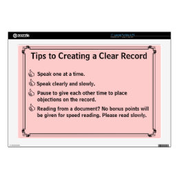 "Court Reporter's Instructions for a Clean Record Skin For 17"" Laptop"