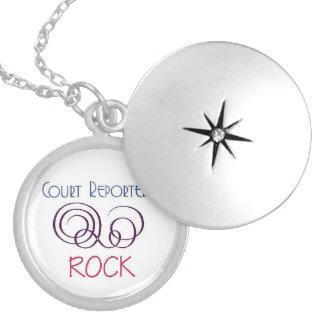 Court Reporters Rock Round Locket Necklace