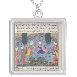 Court Scene in a Garden Silver Plated Necklace