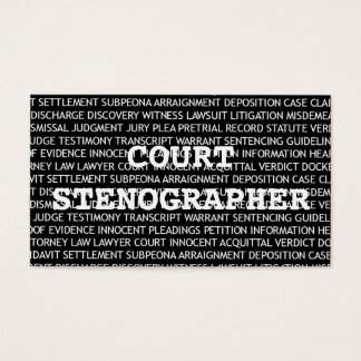 Court Stenographer Words Business Card