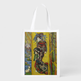 Courtesan after Eisen by Vincent Van Gogh Grocery Bags