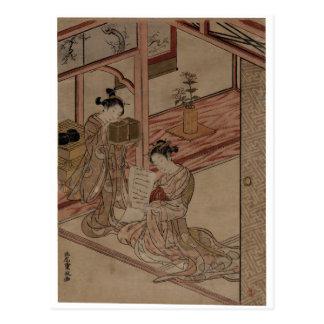 Courtesan and Kamuro in a parlour. Postcard