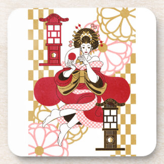 Courtesan and paper-covered lamp stand (Oiran and Beverage Coaster
