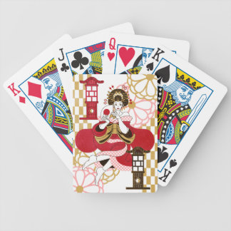 Courtesan and paper-covered lamp stand (Oiran and Bicycle Playing Cards