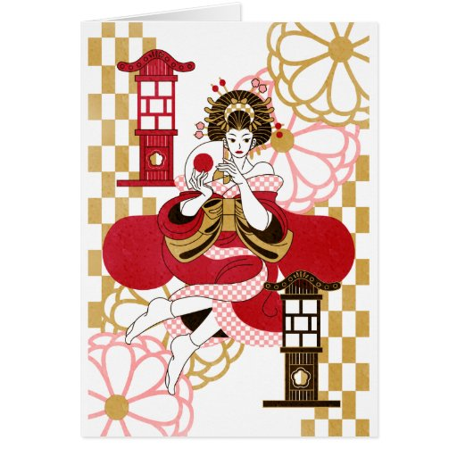 Courtesan and paper-covered lamp stand (Oiran and  Greeting Card