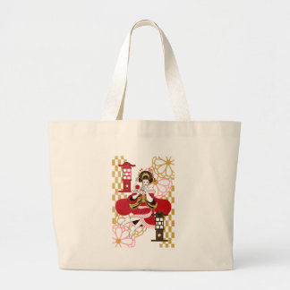 Courtesan and paper-covered lamp stand (Oiran and Large Tote Bag