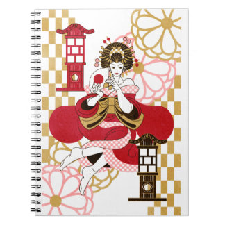 Courtesan and paper-covered lamp stand (Oiran and Notebook