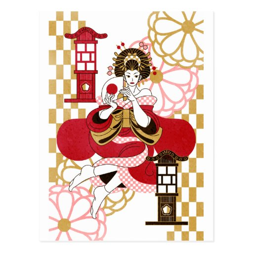 Courtesan and paper-covered lamp stand (Oiran and  Post Card