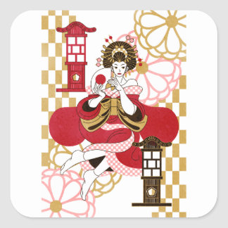 Courtesan and paper-covered lamp stand (Oiran and Square Sticker