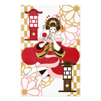 Courtesan and paper-covered lamp stand (Oiran and Stationery