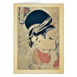 Courtesan chewing on the brush by Kitagawa,Utamaro Greeting Card