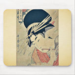 Courtesan chewing on the brush by Kitagawa,Utamaro Mouse Pad