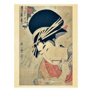 Courtesan chewing on the brush by Kitagawa,Utamaro Post Cards