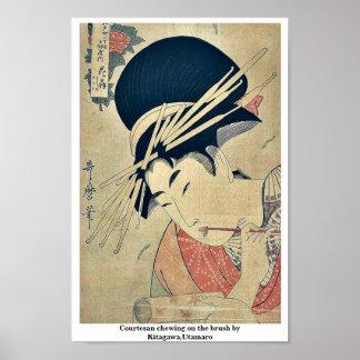 Courtesan chewing on the brush by Kitagawa,Utamaro Poster