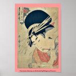 Courtesan chewing on the brush by Kitagawa,Utamaro Print