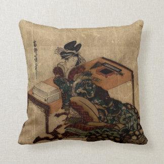 courtesan holding a poem card throw pillows