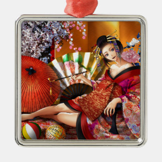 Courtesan (Oiran) Metal Ornament