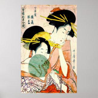 Courtesans Hinatsuru and Hinamatsu 1798 Poster