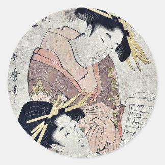 Courtesans of the Matsuba ya by Kitagawa,Utamaro Classic Round Sticker