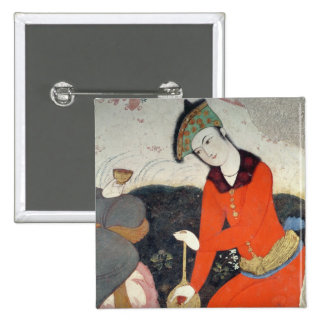 Courtier at the Court of Shah Abbas I 2 Inch Square Button