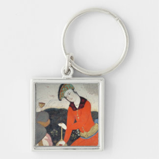 Courtier at the Court of Shah Abbas I Silver-Colored Square Keychain