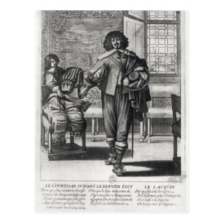 Courtier following the last royal edict postcard