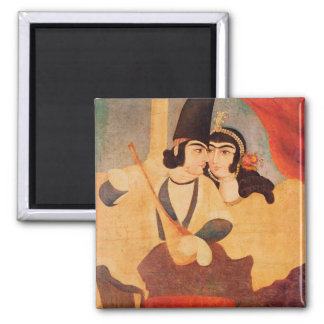 Courtier from the Court of Shah Abbas 2 Inch Square Magnet