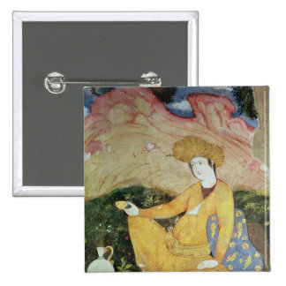 Courtier from the Court of Shah Abbas I 2 Inch Square Button