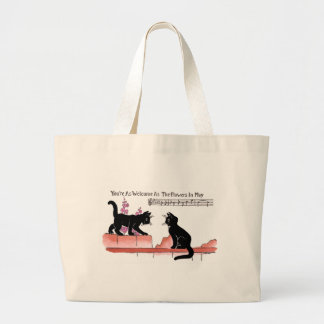 Courting Cats on a Fence with Pink Flowers Canvas Bags
