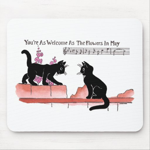 Courting Cats on a Fence with Pink Flowers Mouse Pad