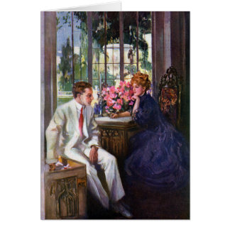Courting Couple in Solarium Greeting Cards