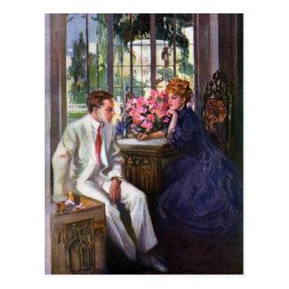 Courting Couple in Solarium Postcard
