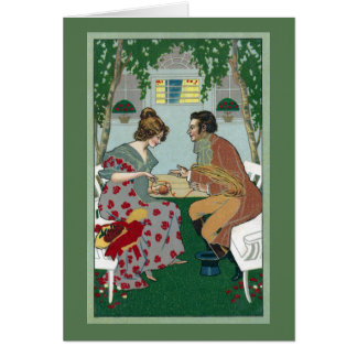 Courting Couple Winding Yarn Vintage Art Nouveau Card
