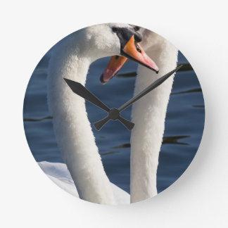 Courting Swans Round Clock