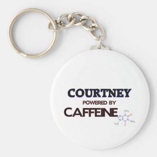 Courtney powered by caffeine keychain