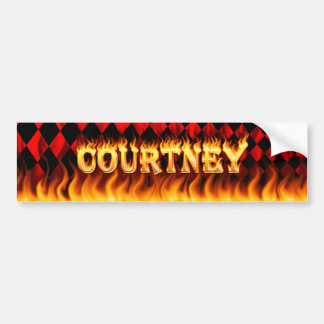 Courtney real fire and flames bumper sticker desig