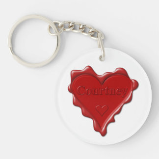 Courtney. Red heart wax seal with name Courtney Keychain