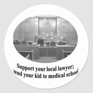 Courtroom Scene with Attorney quote Classic Round Sticker