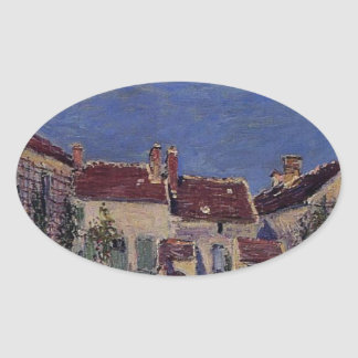 Courtyard at Les Sablons by Alfred Sisley Oval Sticker