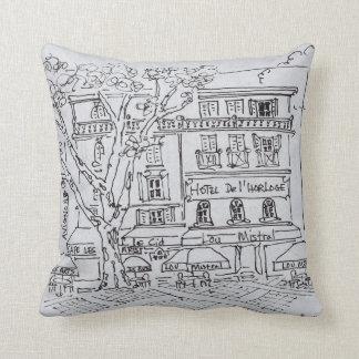 Courtyard Café | Hotel del'Horloge, Avignon Throw Pillow