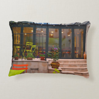 Courtyard cafe potted flowers Paris France Accent Pillow
