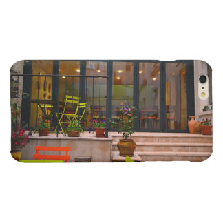 Courtyard cafe potted flowers Paris France Glossy iPhone 6 Plus Case