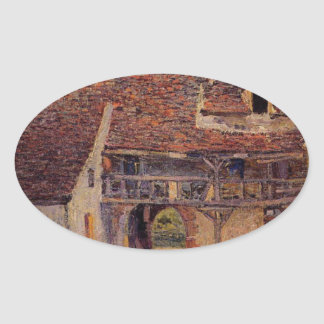 Courtyard of a Farm at Saint Mammes Alfred Sisley Oval Sticker