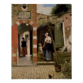 Courtyard of a house in Delft, 1658 Poster